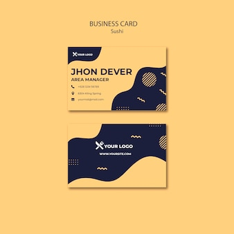 Sushi concept business card template
