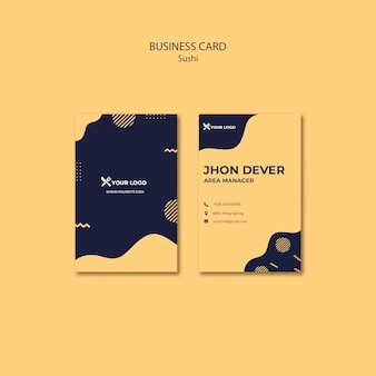 Sushi concept business card template Free Psd