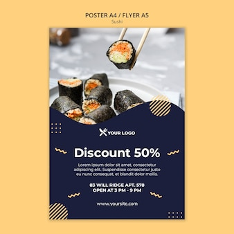 Sushi concept flyer template