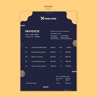 Sushi concept invoice template