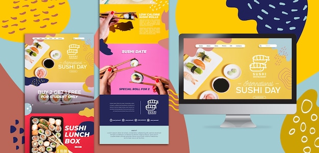 Sushi concept landing page Free Psd