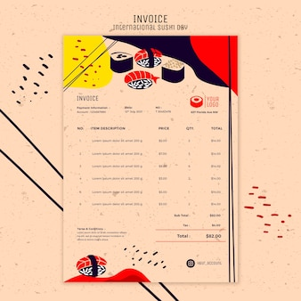 Sushi day invoice template