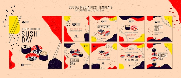 Sushi day social media post template
