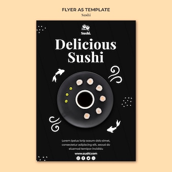 Sushi flyer template with photo