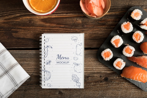 Sushi food menu concept mock-up