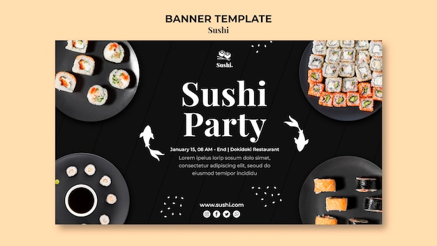 Sushi horizontal banner template with photo