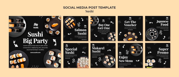 Sushi instagram posts template with photo