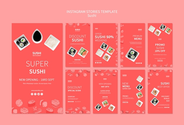Sushi instagram stories template