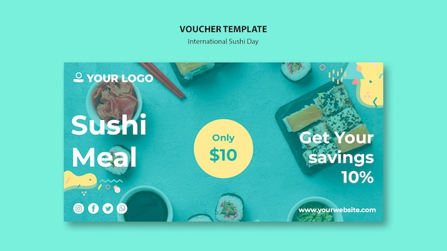 Sushi meal time voucher template