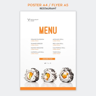 Sushi poster restaurant template