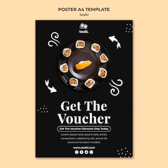 Sushi poster template with photo