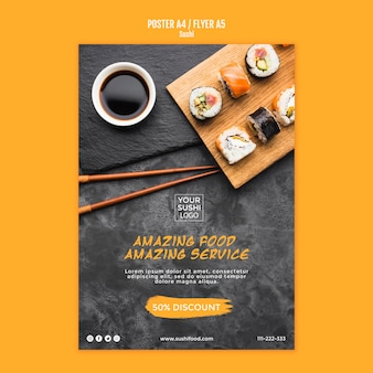 Sushi poster template