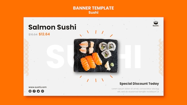 Sushi restaurant banner template