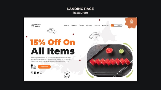 Sushi restaurant discount on productslanding page