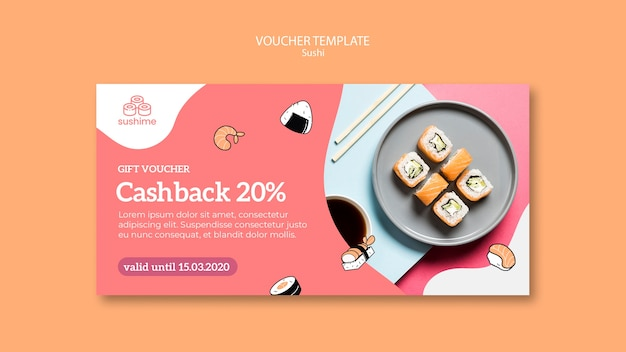 Sushi restaurant gift voucher template