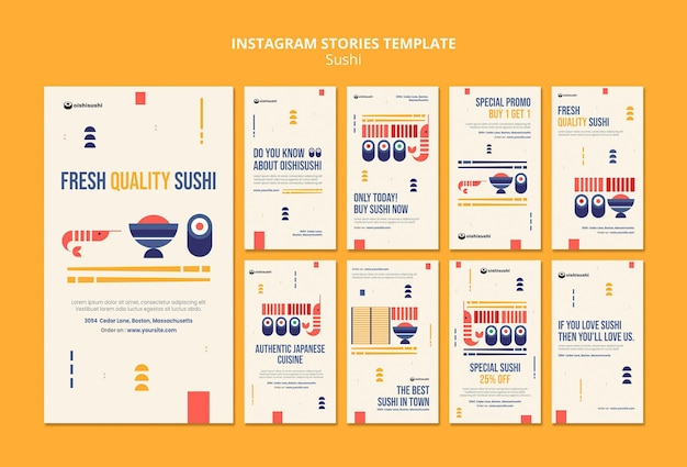 Sushi restaurant instagram stories template