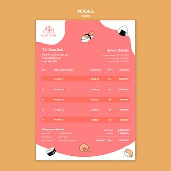 Sushi restaurant invoice template