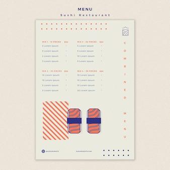 Sushi restaurant menu template