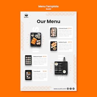 Modello di menu del ristorante di sushi