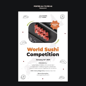 Sushi restaurant poster print template