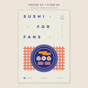 Суши-ресторан плакат шаблон концепция