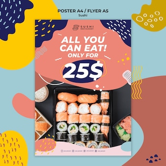 Sushi restaurant poster with offer Free Psd
