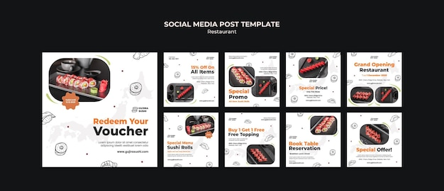 스시 레스토랑 소셜 미디어 게시물 템플릿