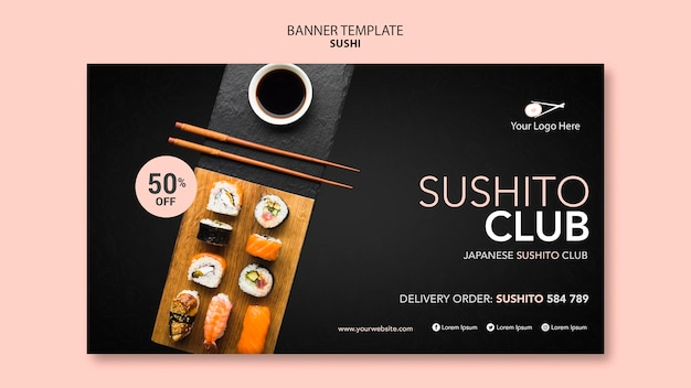 Sushi restaurant template banner