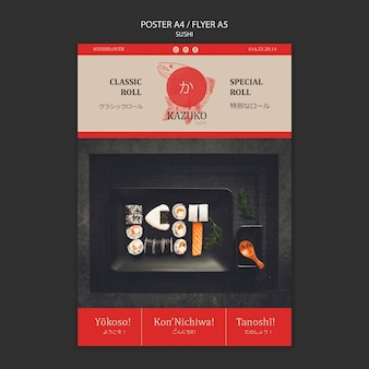 Sushi restaurant template poster