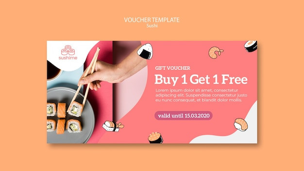 Sushi restaurant voucher template