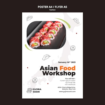 Sushi restaurant workshop poster print template