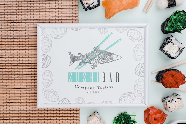 Sushi rolls with frame mock-up