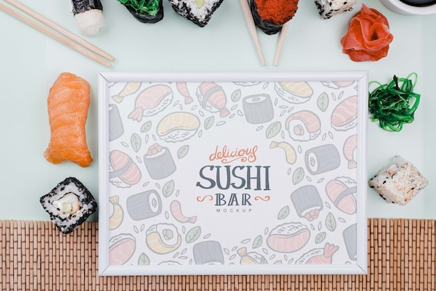 Sushi rolls with frame