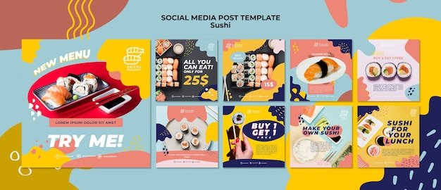 Sushi social media post template Free Psd