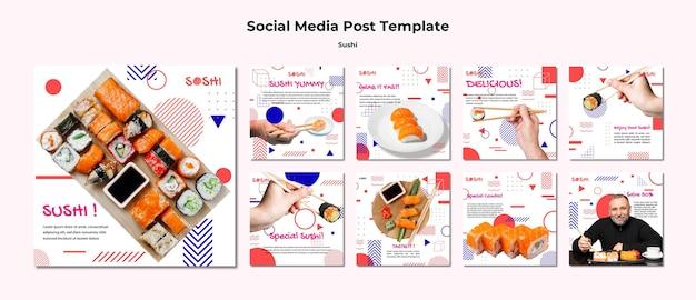 Modello di post sui social media di sushi