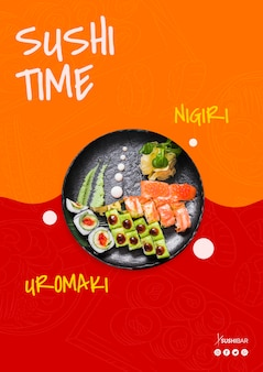 Sushi time, nigiri and uramaki recipe with raw fish for asian japanese restaurant