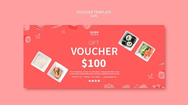 Sushi voucher template concept