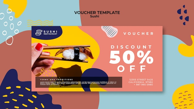 Sushi voucher template with discount