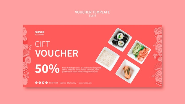 Sushi voucher template