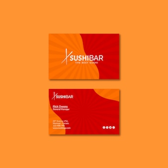 Sushibar restaurant business card template for japanese restaurant