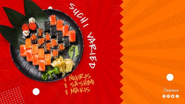 アジアのオリエンタル和食レストランやsushibarのための生の魚と寿司様々なプレート