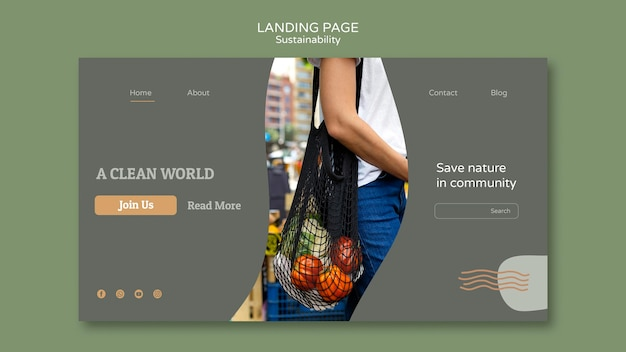 Modello di progettazione della pagina di destinazione della sostenibilità