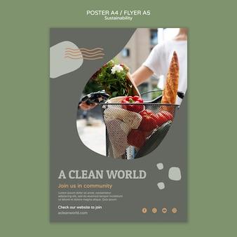 Modello di progettazione di poster di sostenibilità
