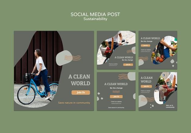 Modello di progettazione di post sui social media di sostenibilità