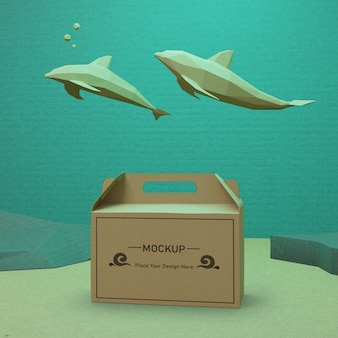 Устойчивая концепция бумажного пакета на день океана