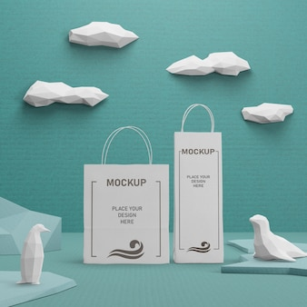 Sustainable paper bags for ocean day