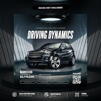 Suv car with modern style social media template