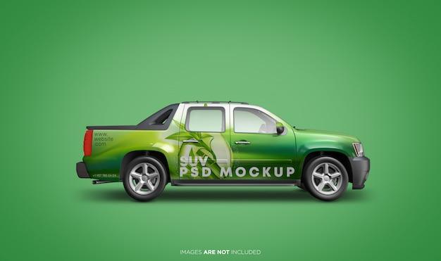 Suv車両psdモックアップの側面図