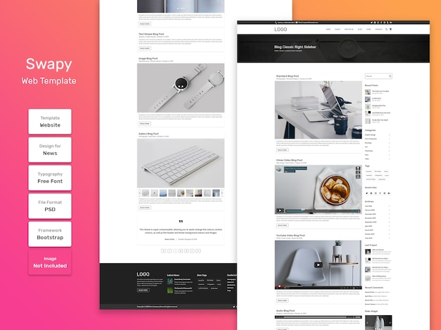 Swapy веб-шаблон страницы категории личного блога