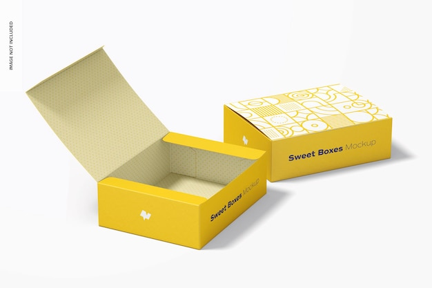 Sweet boxes mockup, opened and closed